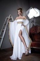 New Arrival Arabic Long Sleeves Lace Applique Chiffon White Formal Evening Dress