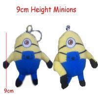 Freeshipping H=9cm 40pcs/Lot Cotton Plush Stuffed Minions Pendants Toys/Dolls For Key/Phone/Bag