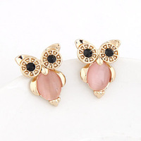 New 2014 Fine Women Men Jewelry Gold Plated Night Owl Stud Earrings with Cat's Eye Stone brincos grandes Accessories bijoux
