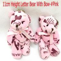 #Pink H=11cm 20pcs Cotton Letter Bear Tinny Bear/Tactic Bear Joint/Bow Bear Plush Pendants Toys/Dolls For Wedding/Key/Phone/Bag