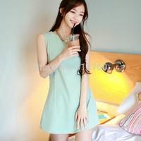 Qct2014 summer women's candy color slim sleeveless dress basic  one-piece dress