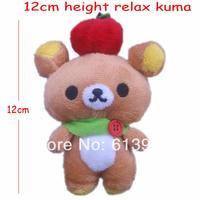 #Brown H=12cm Relax Kuma Relax Bear With Vegetable/Fruit Teddy Bear Plush Pendants Toys For Key/Phone/Bag,24PCS/LOT