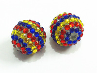 Newest !! 20mm 100pcs/lot  Blue/Red/Yellow Stripe Resin Rhinestone Beads