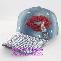 cheap Wholesale new design rhinestone red lips hip hop women baseball cap High quality beauty denim jeans snapback caps hats