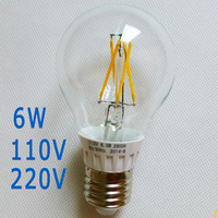 100x 6W A19 E27 Filament LED globe bulb bubble ball lamp lights Warm white 2800K 110V 120V 220V  dimmable non-dim glass cover