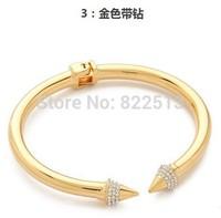 2014 New Gold Rhinestone Cuff  Nail Bangles Fashion Brand  Bracelets Bangles For Women