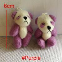 #Purple H=4cm Mini Stuffed Jointed Bare Panda Doll Plush Toys Gift Flower Packing Pendant Teddy Bear 100pcs/lot