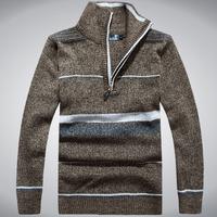 2014 New Men'S High Quality Sweater Men Warm Thick Wool Knit Sweaters Men's Brand Sweater Man Personalized Zipper Collar XG3-16