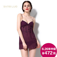 Elegant female silk sleepwear twinset V-neck spaghetti strap shorts sleepwear set lounge silk solid color