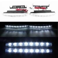 Hot! 12V Free shipping 2pcs 8 LED Universal Car Light DRL Daytime Running Head Lamp Super White WITH RETAIL BOX