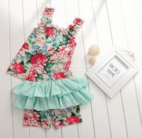 2014 New girls floral 2pcs sets children summer casual suit vests+shorts cotton pink/blue 1-7 yrs 5 sets/lot wholesale 1445