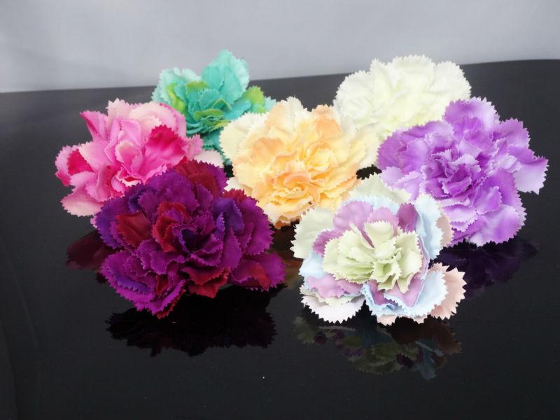 "2pc carnation Artificial silk Flower Heads Craft Wedding bride garden decor home party 3.7""/9cm(China (Mainland))"