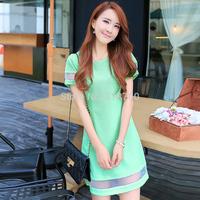 Qct 2014 summer women's short-sleeve organza plus size slim one-piece dress female