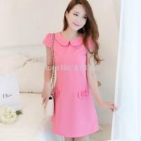 Qct 2014 summer women's gentlewomen slim basic short-sleeve slim waist  one-piece dress