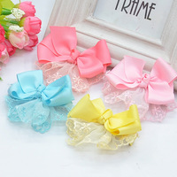 Wholesale Hot Products(40 pcs\ lot) Korean Fashion Popular Children Headdress \Rib Bbelt, Polyester Lace Girls Flowers Hairpin