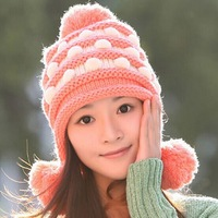 2014 new wholesale fashion winter warm bomber hats beanies with lovely rabbit ball Lovely Knitted hat