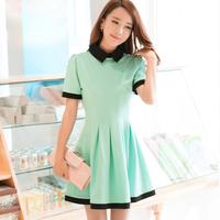 Qct 2014 spring and summer plus size clothing turn-down collar basic  female short-sleeve dress slim