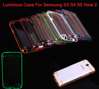 10PCS Florescent light case Luminous clear cover Series PC Hard Case Samsung Galaxy S3 S4 S5 Luminous Case for Galaxy Note 2