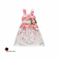 New Children Clothing Summer Girls Pink Flowers  Cotton  Dress Sleeveles Braces Children Dress