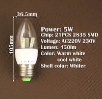 Candle Bulb E27 AC220V 230V 240V 3W 4W 5W SMD 2835 LED bulb lamp cold White/Warm White Energy Saving Led Light Lamps