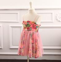 2014 New,girls floral slip dress,children princess dress,pink/white,1-7 yrs,5 pcs / lot,wholesale kids clothing,1446