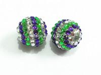 Hot Sale ! 20MM 100pcs/lot Purple/White/Green Resin Stripe Rhinestone Beads