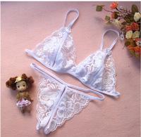 New! Sexy Women's Lace Open Crotch Thongs G-string Bikini Lingerie Underwear Bra Set free shipping