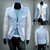 Jogal autumn preppy style fashion color block decoration male slim blazer suit 9159