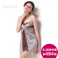 Sexy cutout lace patchwork mulberry silk sleepwear 14 106 - new arrival female silk spaghetti strap nightgown