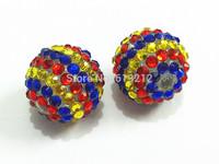 Hot Sale ! 20MM 100pcs/lot RoyalBlue/Red/Yellow  Resin Stripe Rhinestone Beads