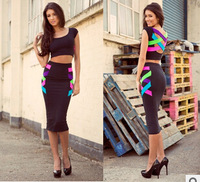 Free Shipping 2014 Colorful Two Piece/ Set  Bodycon Bandage Dress Celebrity Evening Dress Outfit Neon Plus Size Women Dresses