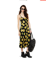 Free shipping 2014 female fashion summer latest design sunflower digital printing Long Knit Dress