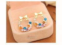 2014 hot selling Korean earrings fine super flash colorful bows earrings wholesale for women female hair accessories YT0270