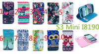 For Samsung Galaxy S3 Mini I8190 Leather Case New Cute Owl Elephant Flip Wallet Stand Leather Cover Case With Card Holder