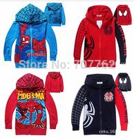 Spiderman coats for children Clothes 2014  Children's Coat boys hoodie jackets Kids cartoon baby zipper coat &outerwear