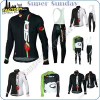 Sidi cycling clothing!Wholesale Facotory discount Castelli spring/autumn/witner full sleeve cycling jersey+long bib pants 4NS31