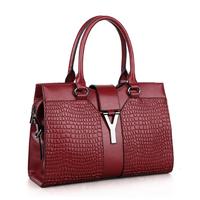 Fashion Women Leather Handbags Genuine Leather Alligator Shoulder Bag Cowhide Brand Designer Women Tote Bag HB-128
