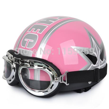 2014 New Hot Goggles Motorcycle Half Face Motorbike Helmet Pink TC/Motorcycle Racing Helmet & goggles Free Shipping(China (Mainland))