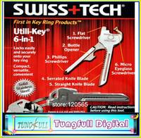 High quality SWISS + TECH Utili-Key 6 In 1 Mini Multitool Keyring Pocket Knife Folding Knife Survival Knife