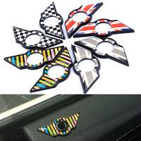 NEW MINI Cooper DOOR Lock PINS Chrome football color stripe Union Jack Metal Emblem Badges