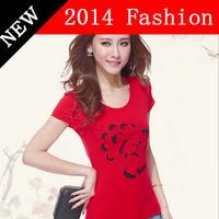summer dress 2014 new fashion t shirt womens hollow out rosees ethnic t-shirt women top for women plus size shirts XXXXL 621L