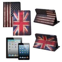 American USA UK British Flag PU Leather Flip Cover Protect Stand Case For iPad 2 3 4 5 air Smart  case for ipad mini Mini