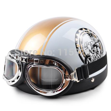 2014 New Hot Goggles Motorcycle Half Face Motorbike Helmet/Motorcycle Racing Helmet & goggles Helmet White stars Free Shipping(China (Mainland))