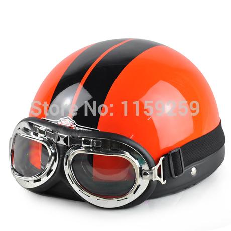 2014 Hot Goggles Motorcycle Half Face Motorcycle Racing Helmet Motorbike Bright black red silver skull Helmet/ Free Shipping(China (Mainland))