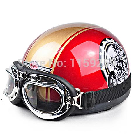 2014 Hot Goggles Motorcycle Half Face Motorcycle Racing Helmet Motorbike Bright orange silver skull Helmet/ Free Shipping(China (Mainland))
