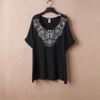 4XL - 8XL Black Embroidery Blouse Casual Women Tee T-shirt Oversize Plus Big Large Size XXXXL XXXXXL XXXXXXL5XL 6XL 2014 Summer