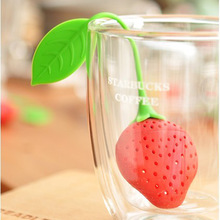 1pcs Free Shipping Creative Teacup Bag Pear Strawberry Silicone Tea Infuser Filter Strainer Teapot 1INu