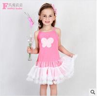 Kids summer dress girls new models mesh sling baby cake dress veil original single children