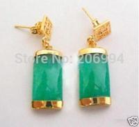 free shipping Christmas Beautiful Emerald Green jade earring 2pair/lot fashion jewelry