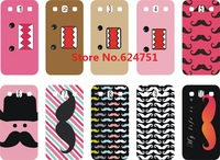 New skin design PINK AND BLUE MOUSTACHE case white hard back cover for  Samsung Galaxy i9300 10PCS/lot+Free shipping